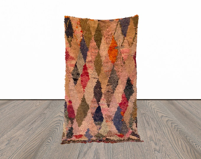 4x7 ft Moroccan Boucherouite colorful rug!