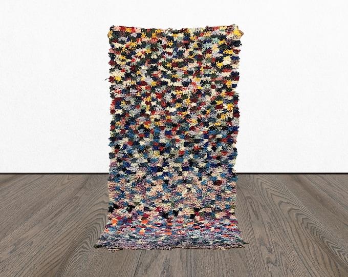 3x6 Boucherouite Colorful rug, Vintage Boho tribal runners, Morrocan Bohemian recycled kilim, Moroccan old BERBER woven rugs