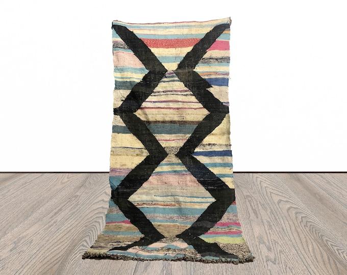 Morrocan flatweave rug, Moroccan Kilim rug, Boucherouite Kilim , 3x7 kilim rugs, Striped rug, berber kilim