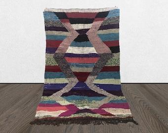 4x6 Moroccan rag Boucherouite rug, vintage Berber kilim fabric, Morrocan flat woven rug.