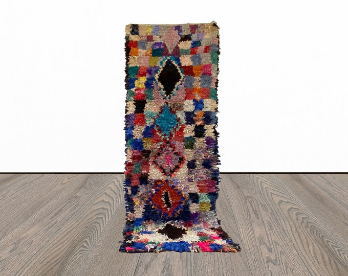 3x8 ft Boucherouite colorful Moroccan runner rug!