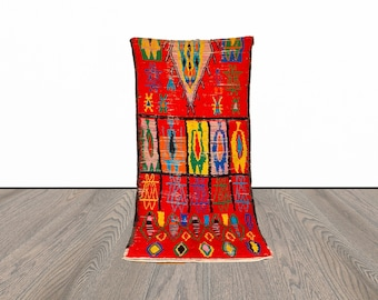 4x9 ft Moroccan colorful vintage rug!