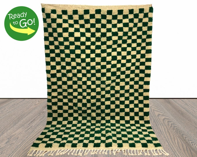 """Moroccan Berber Wool Checkered area rug! """"Ready to ship"""""""