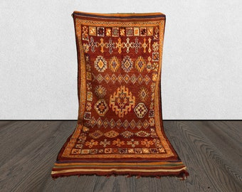 5x12 vintage large area rug Moroccan, Bohemian Morrocan Tribal woven rugs 5 x 12, Moroccan boujaad Boho wool rug