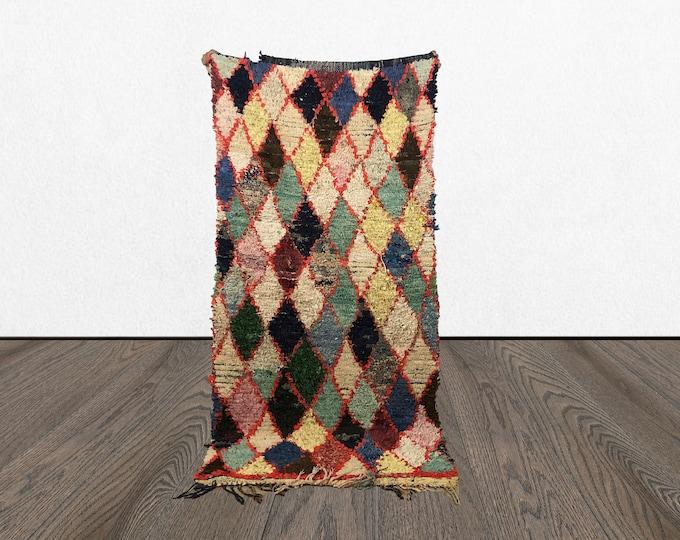 Vintage Colorful Boucherouite rug 3x7, Morrocan tribal Boho runners, Morrocan Bohemian recycled kilim, Moroccan BERBER old woven rugs