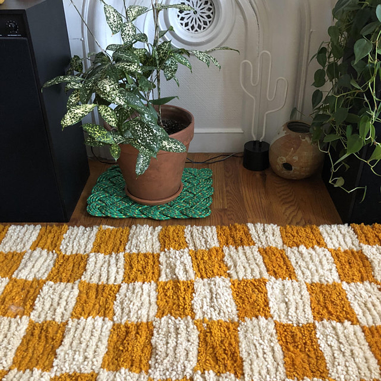 Yellow  Moroccan rug /'/' checker  rug /'/' Beni ouarain rug /'/' berber area rug /'/' checkered board /'/' dama /'/' extra large rug