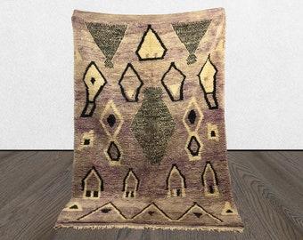 vintage Moroccan rug 5x8, Morrocan Abstract Berber rug, Tribal Bohemian woven faded rug.