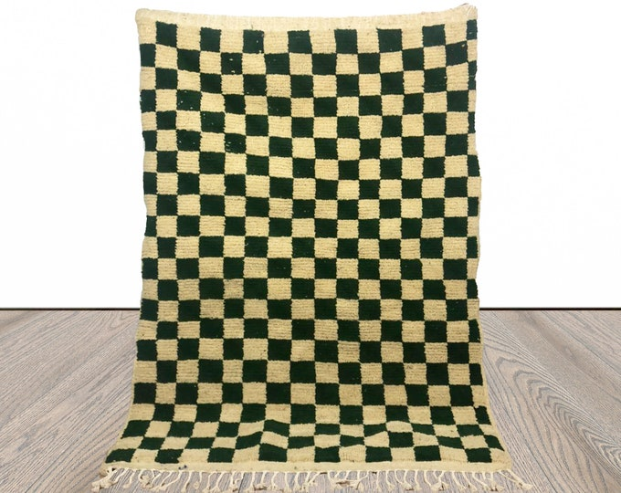 Moroccan Berber Green wool Checkered rug, checkerboard area rugs!