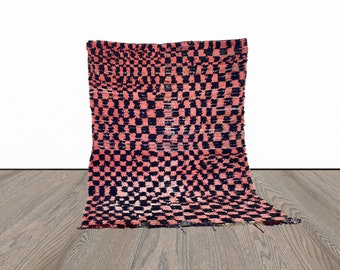 Moroccan vintage checkered rug 5x6 ft!