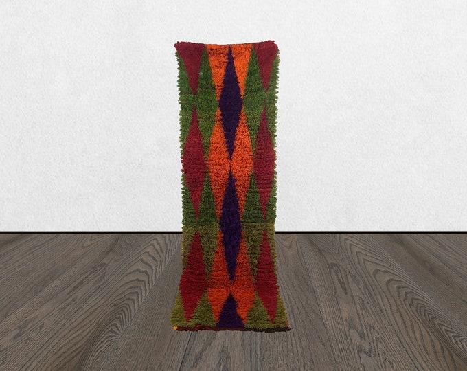 moroccan azilal vintge runner, 3x9 colorful rug runner, moroccan old woven runners, azilal vintage runner rug.