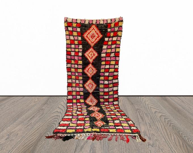 Moroccan large Boucherouite  rug 4x11 ft!