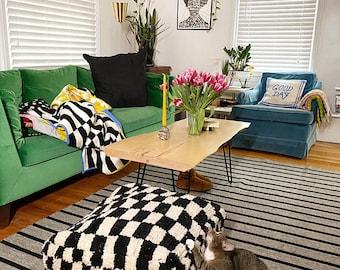 Moroccan checkered pouf, square checker pouf, checked pouf, Berber Floor cushion, pouf ottoman, bohemian pouf, morrocan pouf