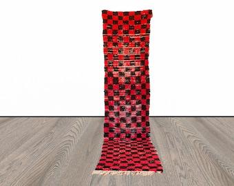 Moroccan checkered Berber runner rug 2x10 ft!