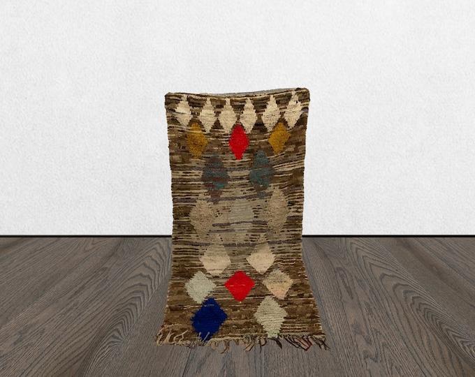 moroccan small tribal rug, 3x7 vintage rugs small, bohemian door mat, berber vintage rug.