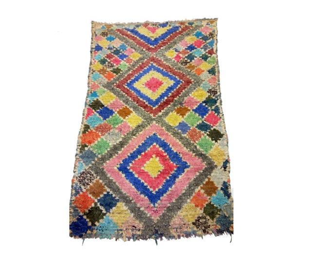 Moroccan Berber Vintage woven tribal rug, morrocan Azilal Wool boho Rug, bohemian boucherouite rare rugs, boujad kilim Old carpet