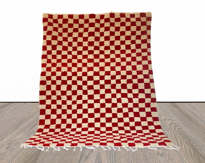 Red and white Checkered rug, Large Moroccan Berber Checker area rug, Morocco checkerboard rug, Modern kitchen rug.