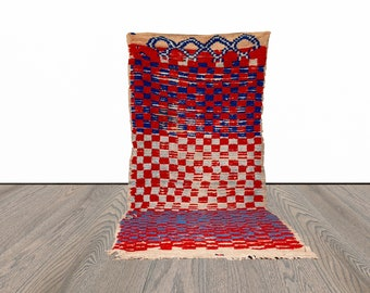 3x8 ft checkered Moroccan colorful runner rug!