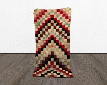 3 x 7 Morrocan checkered small rug, Moroccan Berber checker rug, azilal woven checkerboard rug