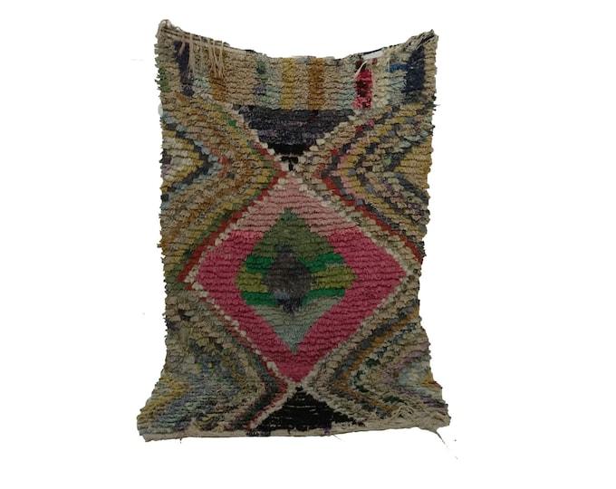 Vintage Moroccan Berber Azilal Woven Rug 3x6, Bohemian tribal Boucherouite rugs.