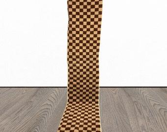 Narrow Moroccan Berber Brown Checkered runner rug!
