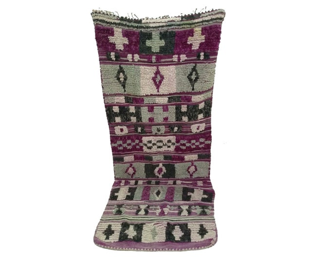 Moroccan Berber Purple runner rug 3x7, Vintage Morrocan Boujad tribal rugs, kitchen Boho runners, bathroom woven Bohemian stair runners.