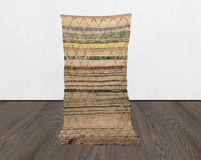 4x8 worn vintage rug runner, Bohemian rug, Morrocan rug, Moroccan boujad rugs, Morrocan rug, Boujaad runner rug, Moroccan Berber Azilal rug