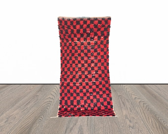 checkered Moroccan Berber rug 3x7 ft!