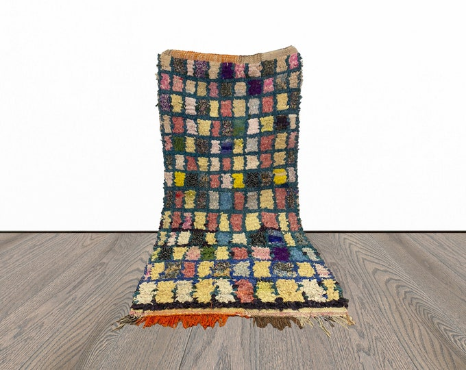 2x5 ft small Boucherouite Moroccan  rug!