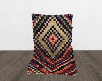 Moroccan Colorful shaggy rug 4x6, Boho Moroccan BERBER wool rug, Tribal Bohemian woven rugs, Morrocan Old Vintage rugs