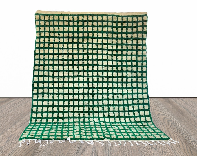 Moroccan Berber Green and Off-white Grid area rug!