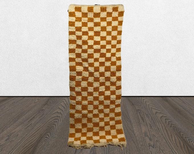 Moroccan Berber Checkered Yellow runner rug, Morocco Checkerboard rug runners!