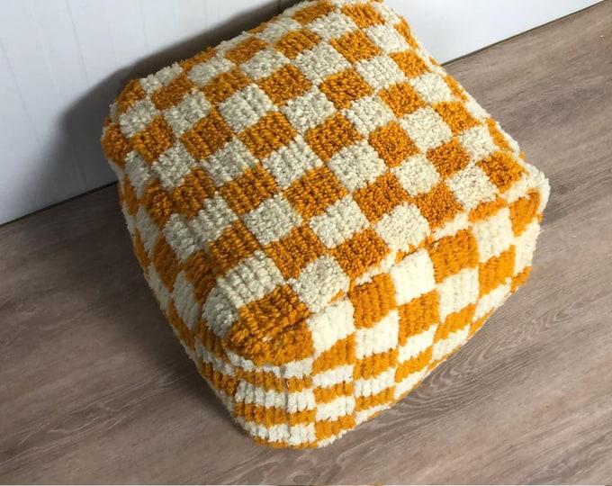 Moroccan Yellow checkered pouf, checked pouf, Berber Floor cushion, square checker pouf, pouf ottoman, bohemian pouf, morrocan pouf