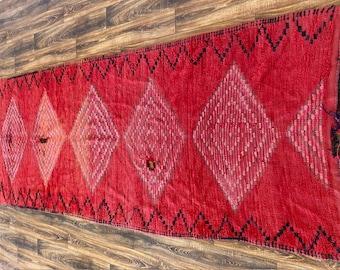 Red Moroccan vintage runner rug 4x11 ft!