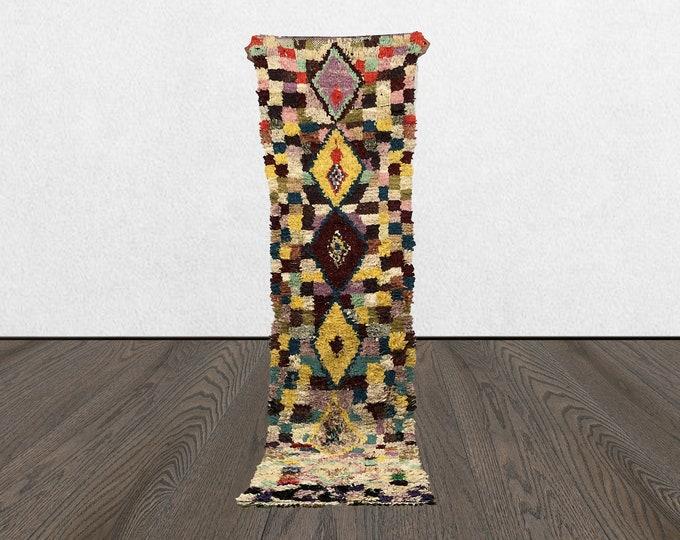 2x9 Colorful Boucherouite runner rug, Vintage tribal Boho runners, Morrocan BERBER Bohemian recycled kilim, Moroccan old woven rugs