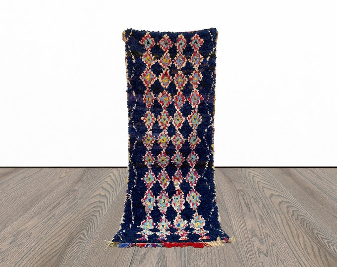3x7 ft Boucherouite colorful Moroccan  rug!
