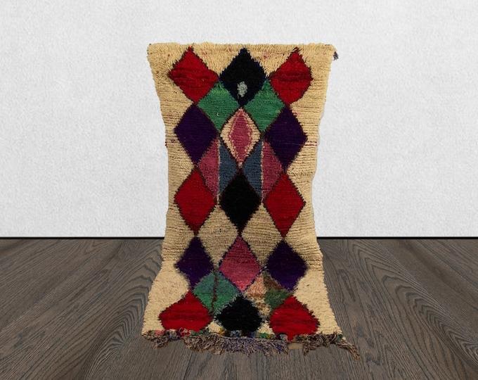 3 x 6 Morrocan vintage Colorful small rug, Moroccan Berber small rug, azilal woven Bohemian rug