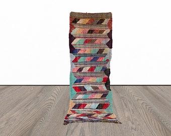 3x8 ft Moroccan Boucherouite kilim runner rug!