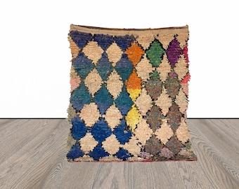 4x5 ft Moroccan Boucherouite vintage rug!