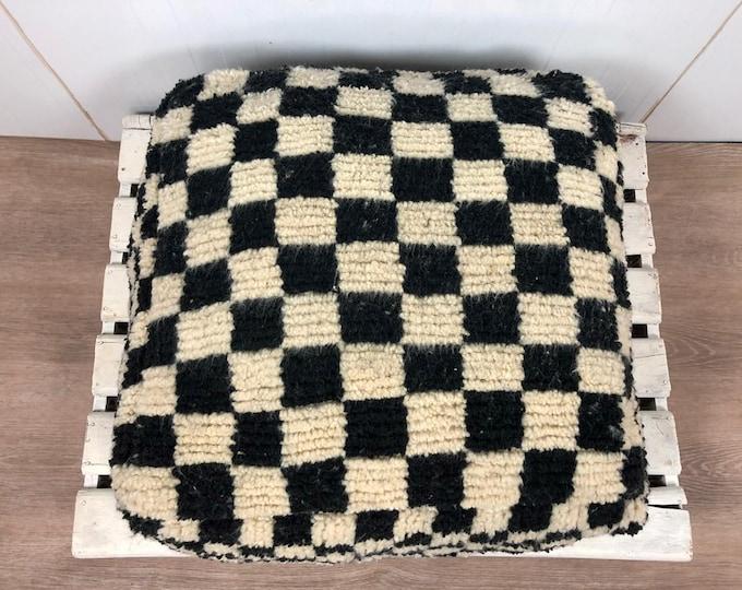 Moroccan Berber square checkered pouf ottoman!