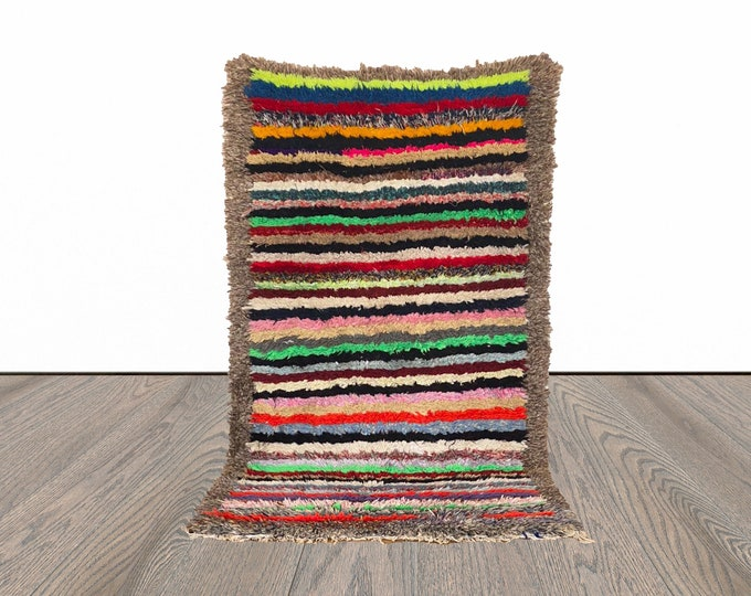 Moroccan colorful striped rug 3x6 ft!