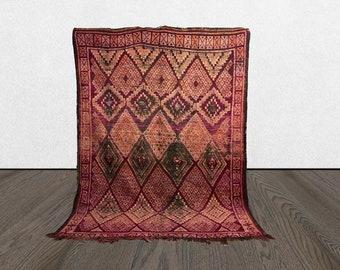 purple Morrocan boujaad vintage large rug 6x8, Morocco Bohemian Tribal woven worn rugs 6 x 8, Moroccan boujaad Boho wool rug