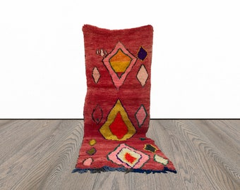 Moroccan vintage woven area rug 4x10 ft!