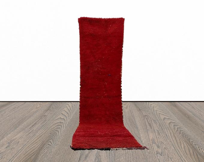 Vintage red Moroccan solid runner rug 2x9 ft!