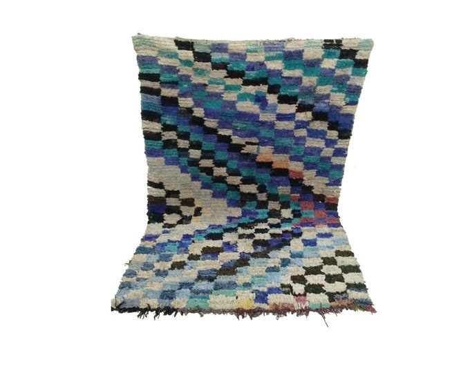 Moroccan boucherouite rug, Berber Vintage Rug 4x6 ft!