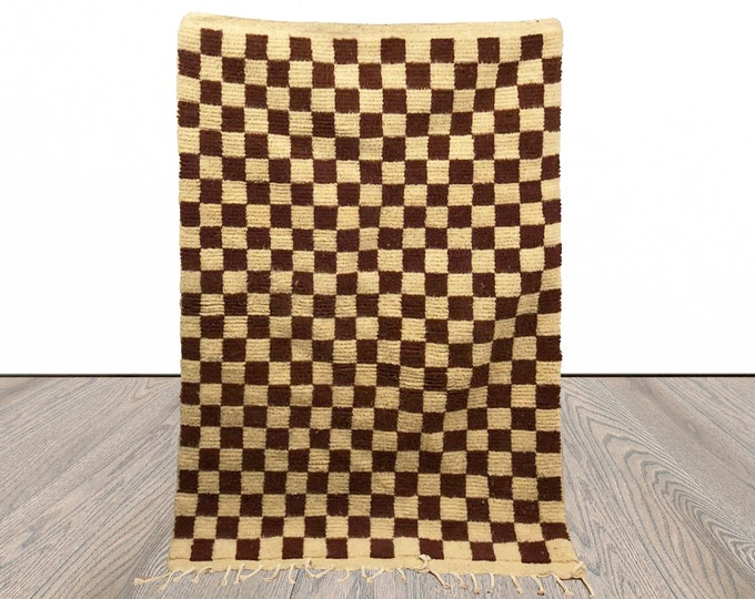 Brown Berber Checkered area rug, Moroccan checkerboard rug