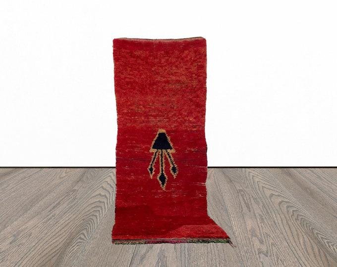Vintage Moroccan woven runner rug 3x8 ft!