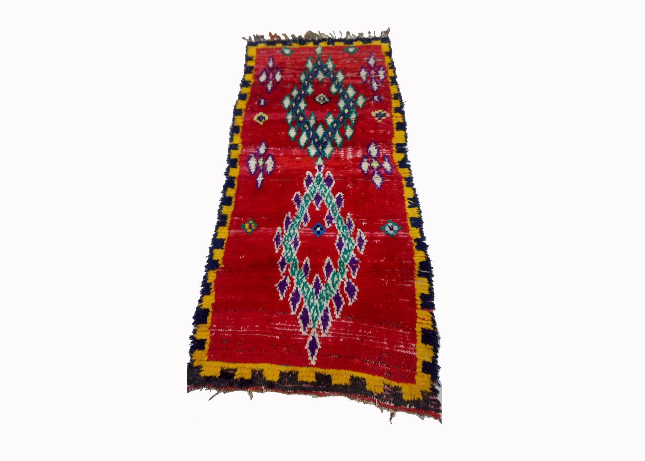 Moroccan  berber Morrocan azilal Colorful azilal  Vintage   boho   Berber   Abstract   Deco Rug Boujaad 2.6 x 6  feet