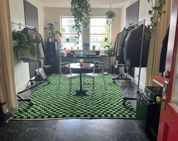 moroccan checkered rug, checkered morrocan rug, green moroccan rug, checkered moroccan rug, green checkered rug, black and green rug