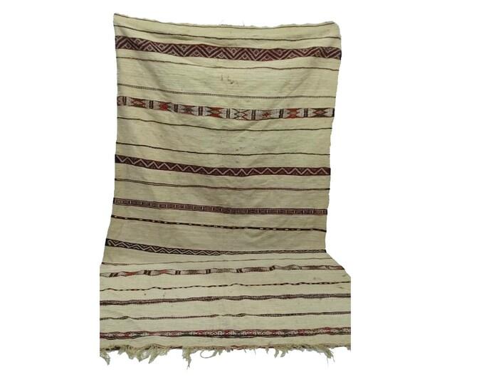 vintage wool blanket 5x9 ft, morrocan azilal boho woven blankets, Moroccan berber Old blankets