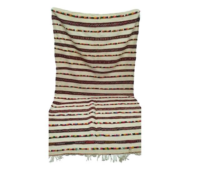 Moroccan berber vintage wool blanket 5x7 ft, morrocan azilal boho woven blankets.